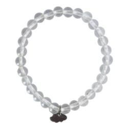 Bracelet Cristal de Roche Perles rondes 6 mm Breloque nuage
