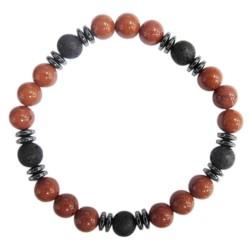 Bracelet H Jaspe Rouge et Pierre de lave Perles rondes 8 mm