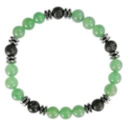 Bracelet H Aventurine Verte. Pierre de lave Perles rondes 8 mm