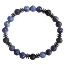 Bracelet H Sodalite. Pierre de lave Perles rondes 8 mm