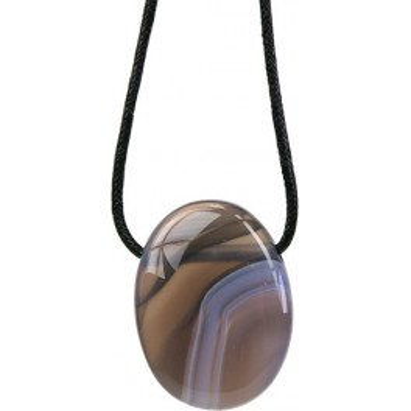 Pendentif pierre ovale percée - Agate Rubanée