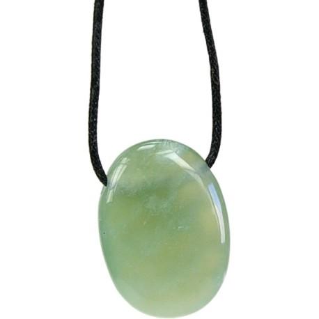 Pendentif pierre ovale percée - Serpentine