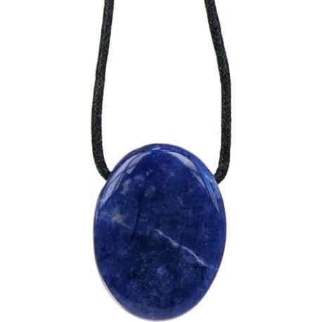 Pendentif pierre ovale percée - Sodalite